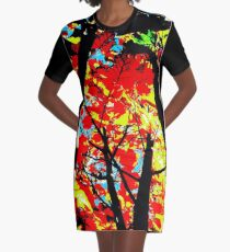 Flame Trees Graphic T-Shirt Dress
