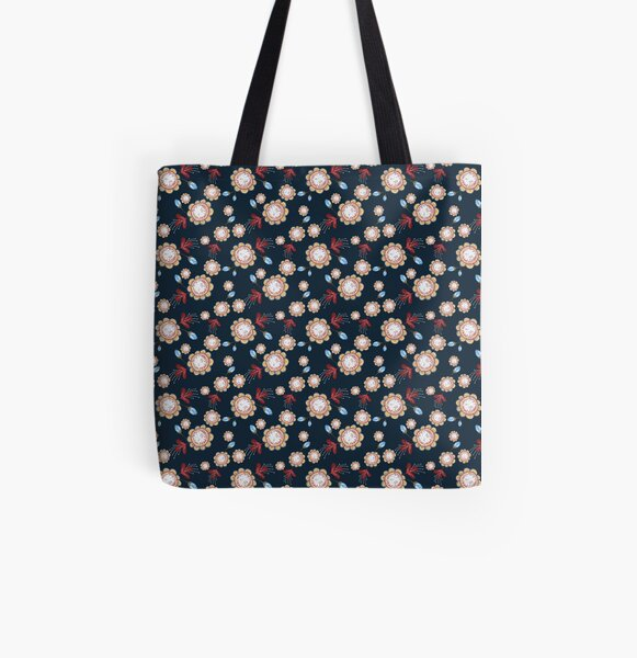 Nightflowers All Over Print Tote Bag
