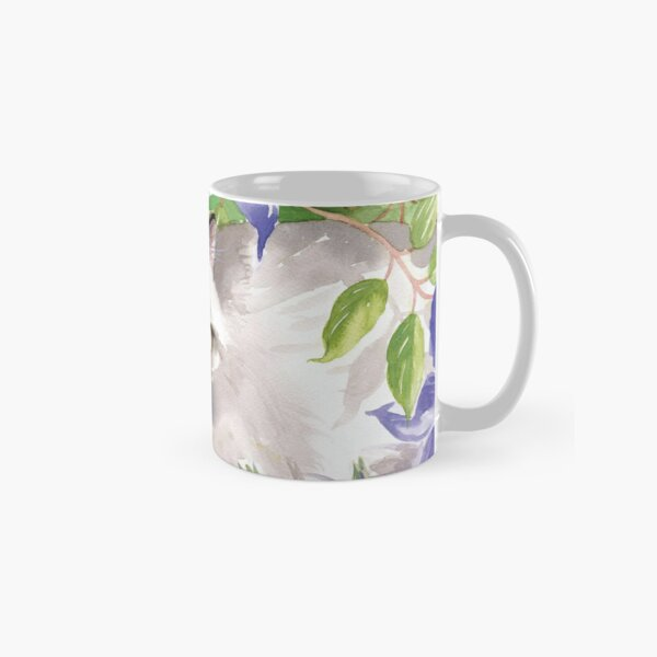 Cat and Blue Clematis Flowers Classic Mug