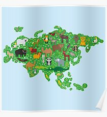 Eurasia Animal Map Green Poster