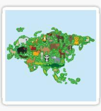 Eurasia Animal Map Green Sticker