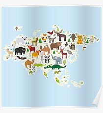 Eurasia Animal Map light blue Poster