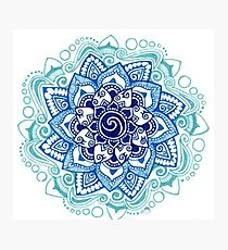 Mandala - 50 shades of blue flower Photographic Print