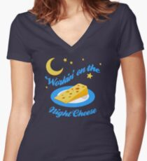 Night Cheese Women's Fitted V-Neck T-Shirt