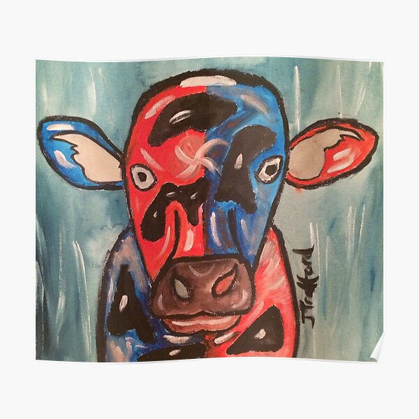 A cow that been on the wrong sort of grass Poster