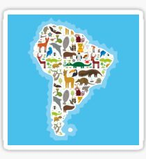 South America Animal Map Sticker