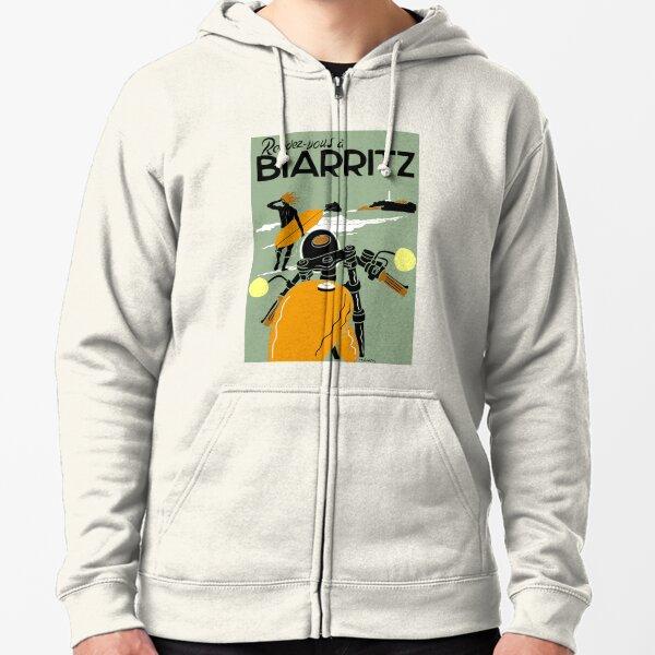 BIARRITZ ; Vintage Travel Advertising Print Zipped Hoodie
