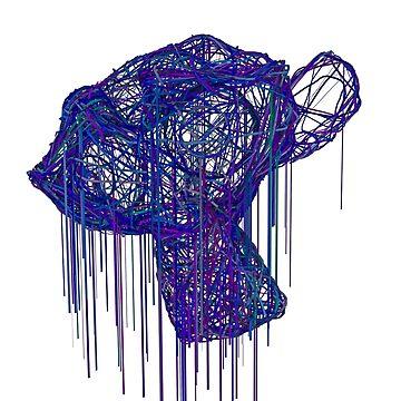 Purple 3D Monkey Head Cocoon by enzym