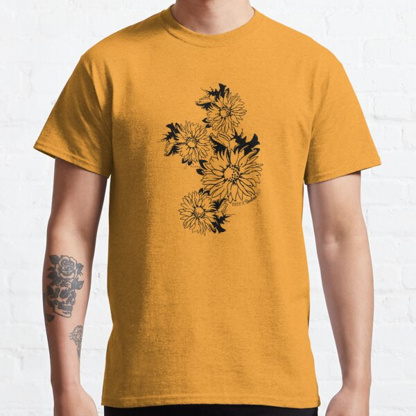 Bunch of Sunflowers Placed Linework Drawing Classic T-Shirt