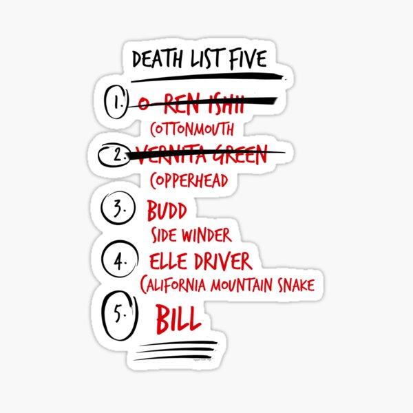 Kill Bill -- The Brides Death List 5 Sticker