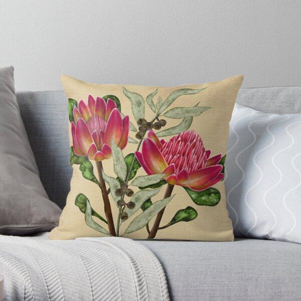 Protea and Eucalyptus Floral Throw Pillow
