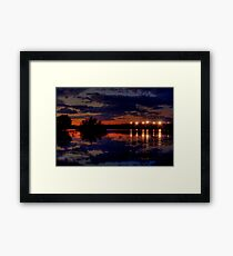 Lights Over Willow Lake At Sunset Framed Print
