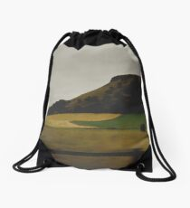 Catch me pacing past the fields Drawstring Bag