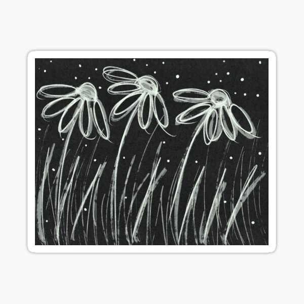 Black and White Flowers Sticker