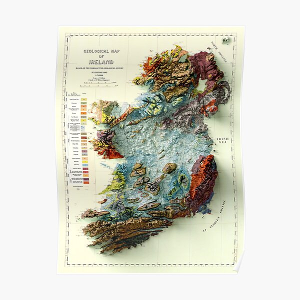 1961 Geological map of Ireland 3D digitally-rendered Poster