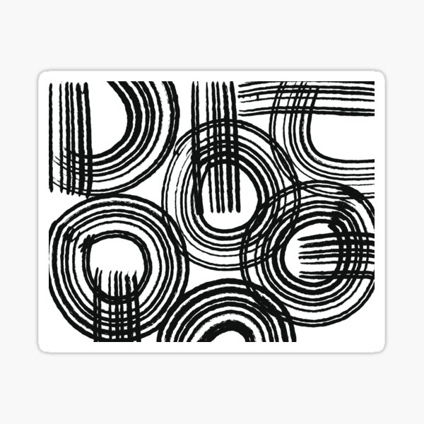 Circles and Lines Black and White Design Sticker