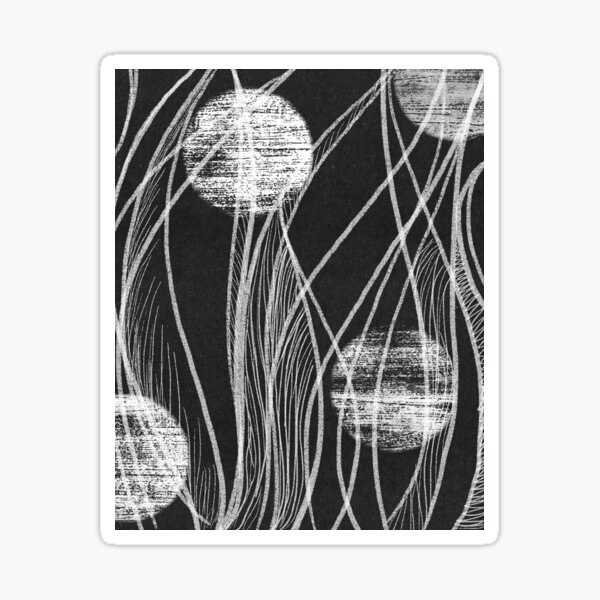 Black and White Abstract Flowing Lines Design Sticker