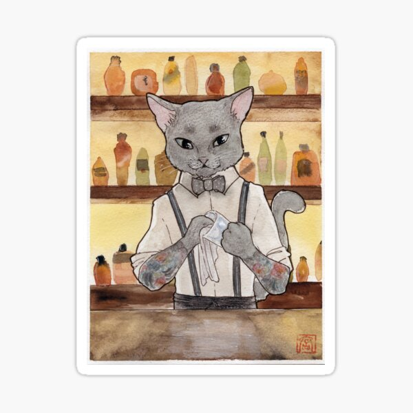 Bartender Cat Takeshi Sticker