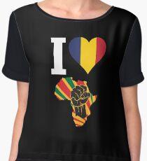 I Love Africa Map Black Power Chad Flag T-Shirt Chiffon Top