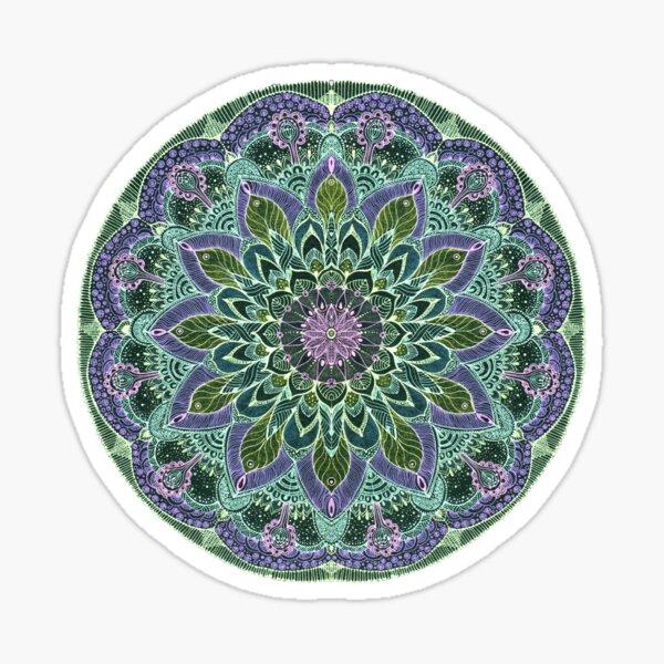 Hand Drawn Pink Purple Mandala  on Dark Sticker