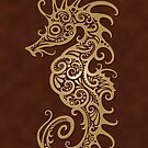 Intricate Brown Tribal Seahorse Design  von jeff bartels