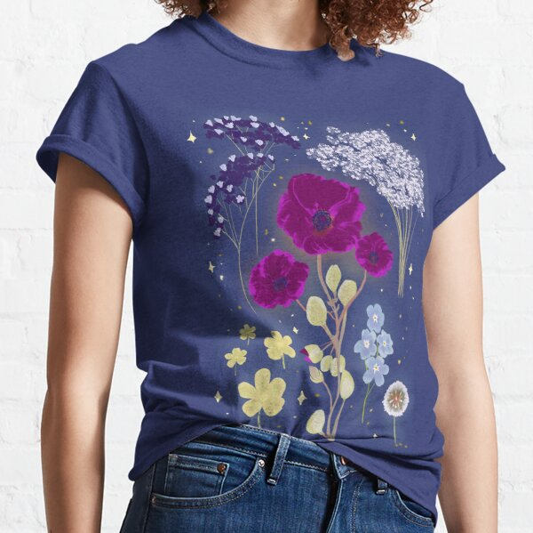 Summer Flowers Stars in the Blue Sky Classic T-Shirt