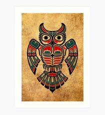 Red and Teal Blue Haida Spirit Owl Art Print
