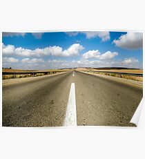Australian, western New South Wales, Endless road to nowhere running into the horizon blue sky with clouds  Poster