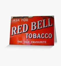 Old red enamelled Billboard Red Bell Tobacco Advertisement Greeting Card