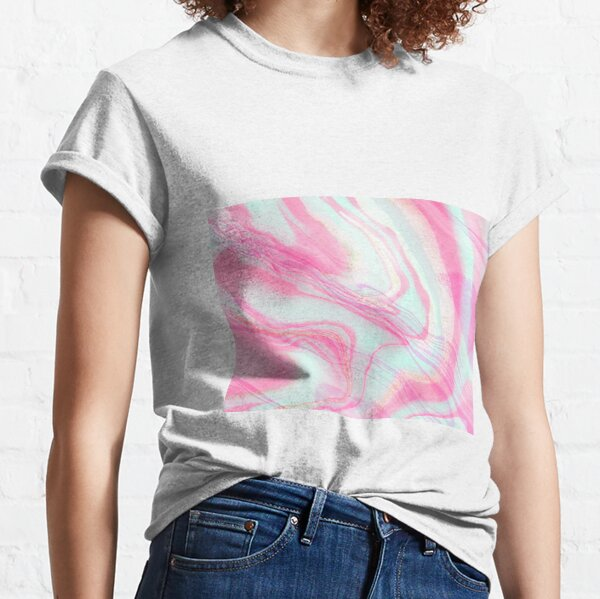 Mint Pink and Golden Digital Marble with Sparkles Classic T-Shirt