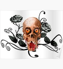 Creepy skull and roses Poster