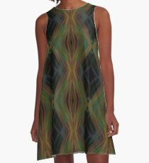 Abstract Triangles Black Green Blue A-Line Dress