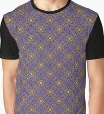 Asymmetrical Purple Yellow Repeating Pattern Graphic T-Shirt