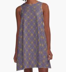 Asymmetrical Purple Yellow Repeating Pattern A-Line Dress