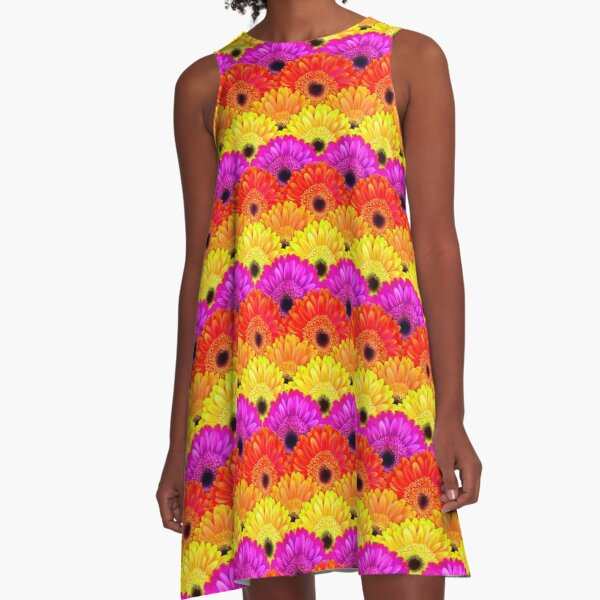 Gerbera Flowers in Purple, Red, Yellow and Orange A-Line Dress