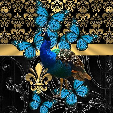 Blue peacock on black and gold damask by oconnart