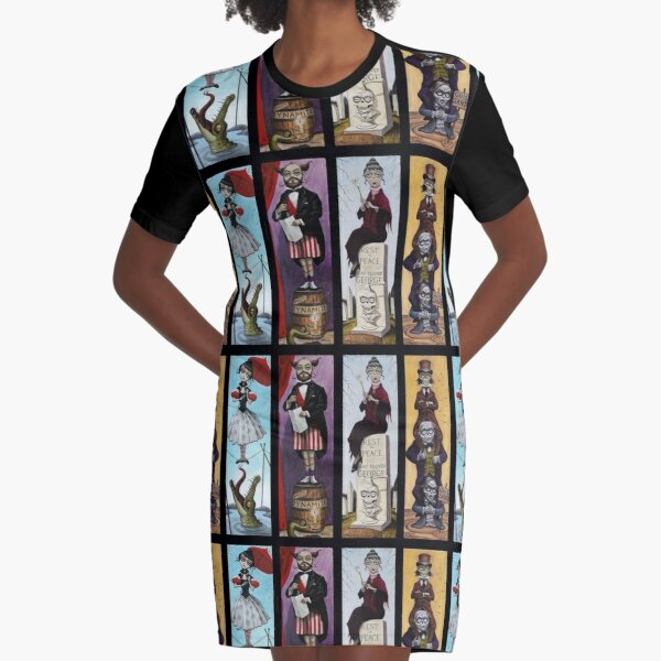 Stretching Portraits Graphic T-Shirt Dress