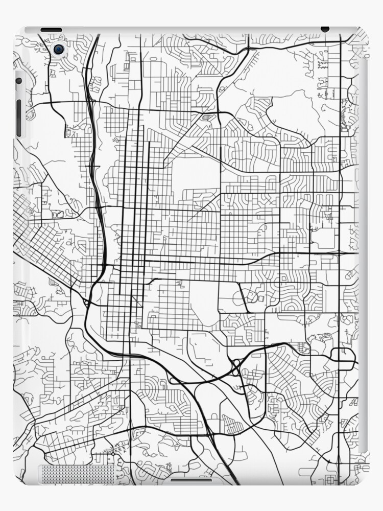 Colorado Springs Map, USA - Black and White
