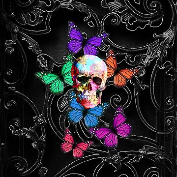 Sugar skull and colored butterflies by oconnart
