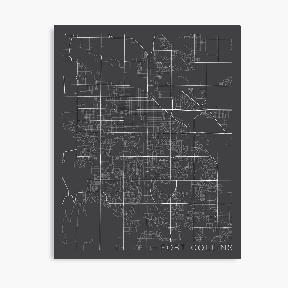 Fort Collins Map, USA - Gray Canvas Print
