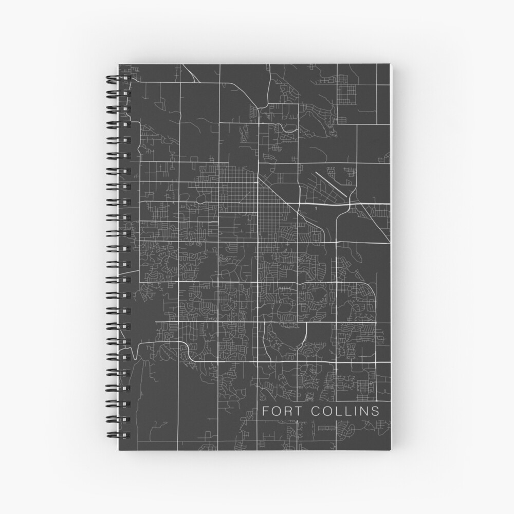 Fort Collins Map, USA - Gray Spiral Notebook