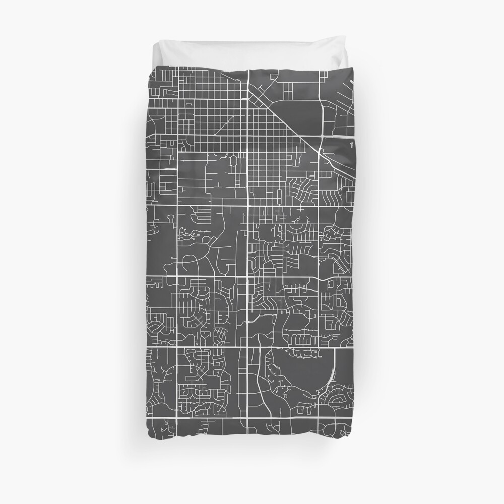 Fort Collins Map, USA - Gray Duvet Cover