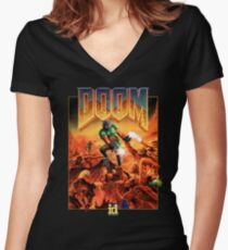 Doom Poster Art 1993 PC Women's Fitted V-Neck T-Shirt