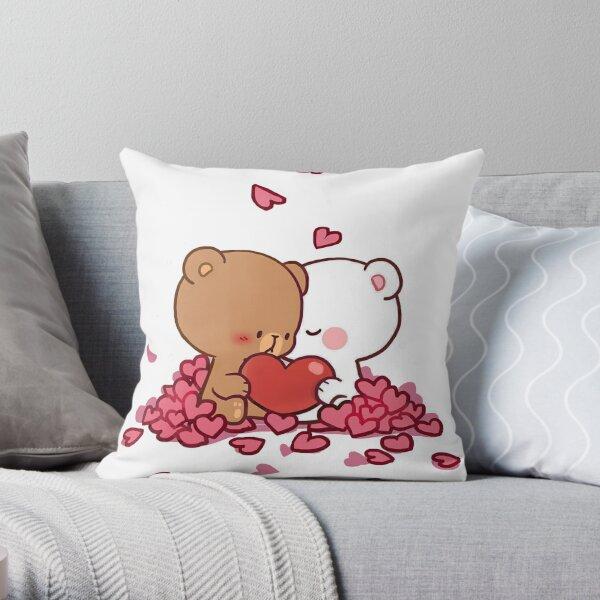 cute milk bears, funny cartoon couple Cojín
