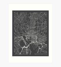 Washington DC Map, USA - Gray Art Print