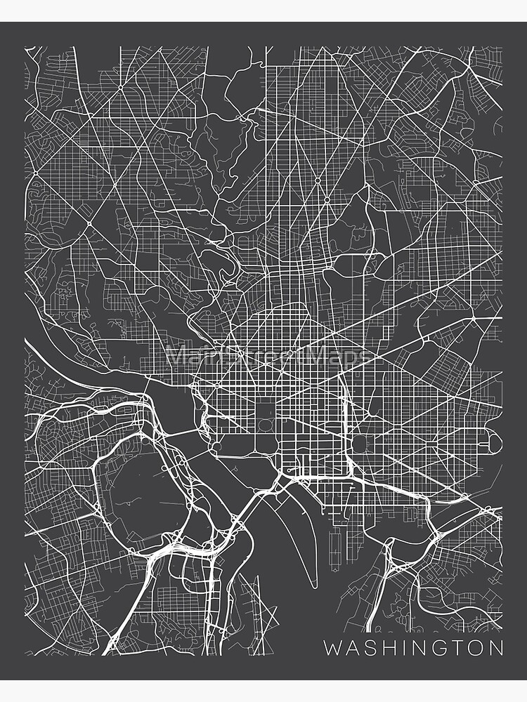 Washington DC Map, USA - Gray by MainStreetMaps