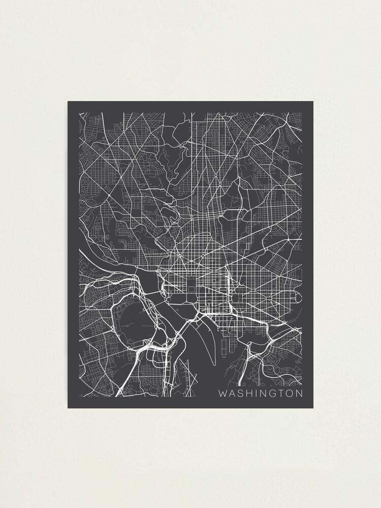 Alternate view of Washington DC Map, USA - Gray Photographic Print
