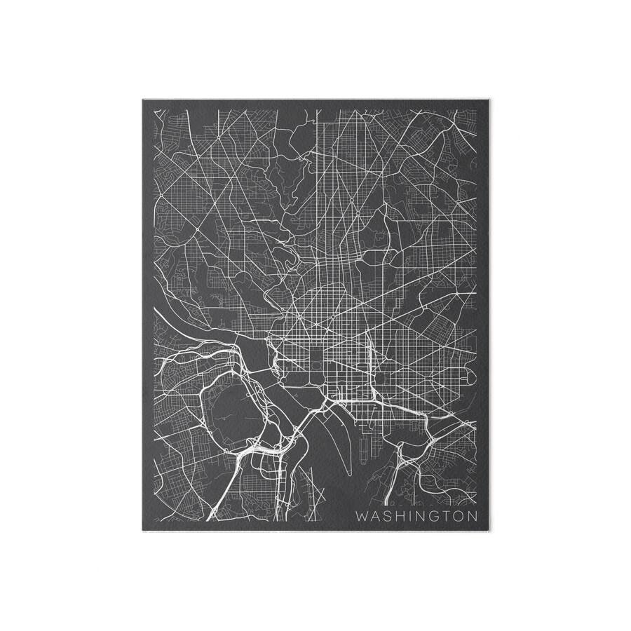 Washington DC Map USA Gray Art Boards By MainStreetMaps - Washington dc map usa