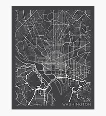 Washington DC Map, USA - Gray Photographic Print