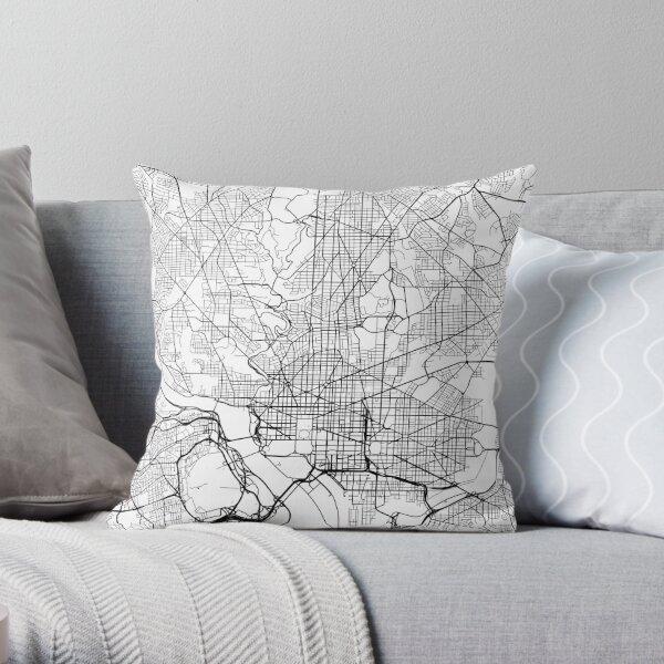 Washington DC Map, USA - Black and White Throw Pillow